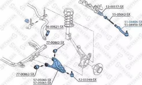 Stellox 51-04494-SX - Наконечник рульової тяги, кульовий шарнір autocars.com.ua