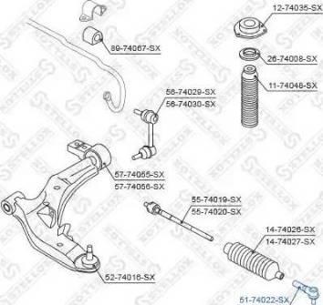 Stellox 51-74022-SX - Наконечник поперечной рулевой тяги autodnr.net