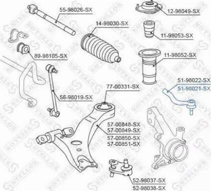 Stellox 51-98021-SX - Наконечник поперечной рулевой тяги autodnr.net