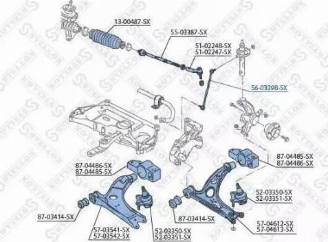 Stellox 56-03398-SX - Тяга / стойка, стабилизатор car-mod.com