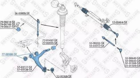 Stellox 77-00166-SX - Сайлентблок, важеля підвіски колеса autocars.com.ua