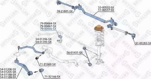 Stellox 79-00066-SX - Втулка стабілізатора, нижній сайлентблок autocars.com.ua