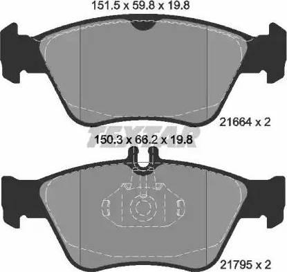 Textar 2166404 - Комплект тормозных колодок, дисковый тормоз autodnr.net