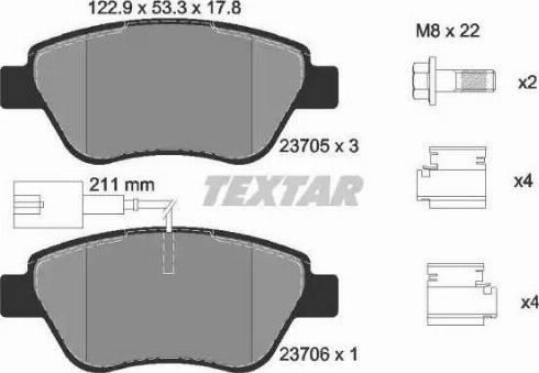 Textar 2370502 - Комплект тормозных колодок, дисковый тормоз autodnr.net