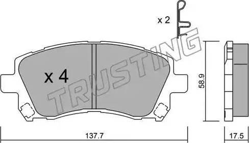 Trusting 305.0 - Комплект тормозных колодок, дисковый тормоз autodnr.net