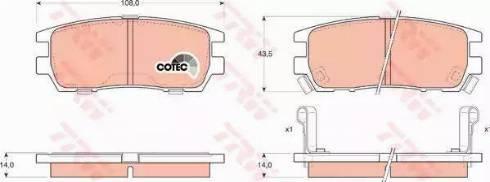 TRW GDB1127 - Комплект тормозных колодок, дисковый тормоз autodnr.net