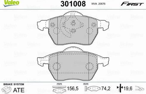 Valeo 301008 - Комплект тормозных колодок, дисковый тормоз autodnr.net