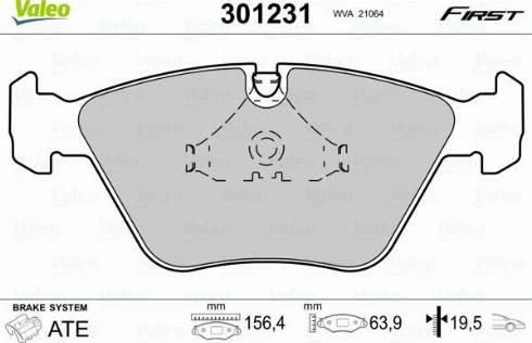 Valeo 301231 - Комплект тормозных колодок, дисковый тормоз autodnr.net