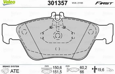Valeo 301357 - Комплект тормозных колодок, дисковый тормоз autodnr.net