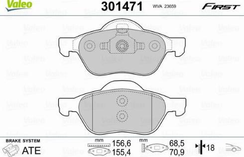 Valeo 301471 - Комплект тормозных колодок, дисковый тормоз autodnr.net