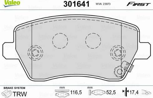 Valeo 301641 - Комплект тормозных колодок, дисковый тормоз autodnr.net