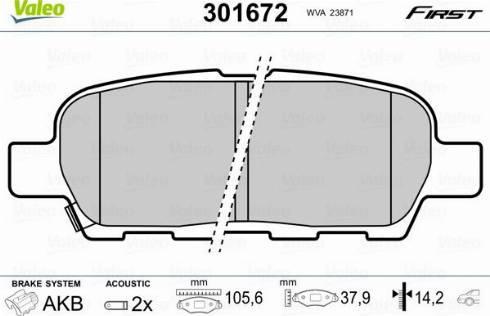 Valeo 301672 - Комплект тормозных колодок, дисковый тормоз autodnr.net