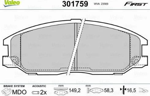 Valeo 301759 - Комплект тормозных колодок, дисковый тормоз autodnr.net