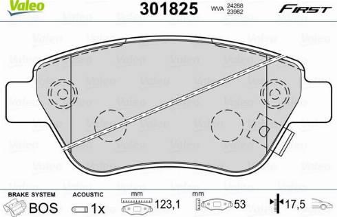 Valeo 301825 - Тормозные колодки, дисковые car-mod.com