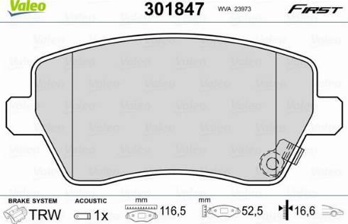Valeo 301847 - Комплект тормозных колодок, дисковый тормоз autodnr.net