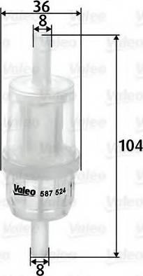 Valeo 587524 - Паливний фільтр autocars.com.ua