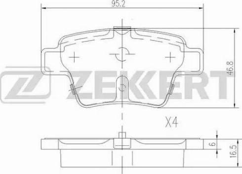 Zekkert BS-1144 - Комплект тормозных колодок, дисковый тормоз autodnr.net