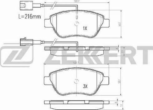 Zekkert BS-1167 - Комплект тормозных колодок, дисковый тормоз autodnr.net