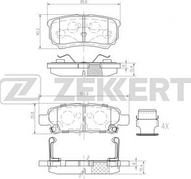 Zekkert BS-1358 - Комплект тормозных колодок, дисковый тормоз autodnr.net