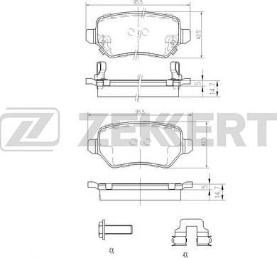 Zekkert BS-1761 - Комплект тормозных колодок, дисковый тормоз autodnr.net