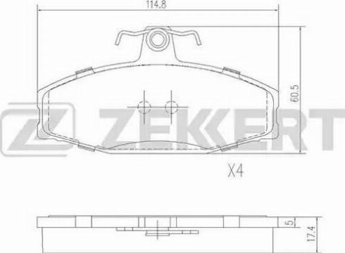 Zekkert BS-2072 - Комплект тормозных колодок, дисковый тормоз autodnr.net