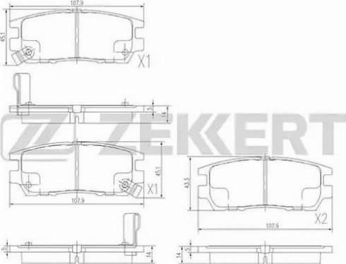 Zekkert BS-2219 - Комплект тормозных колодок, дисковый тормоз autodnr.net