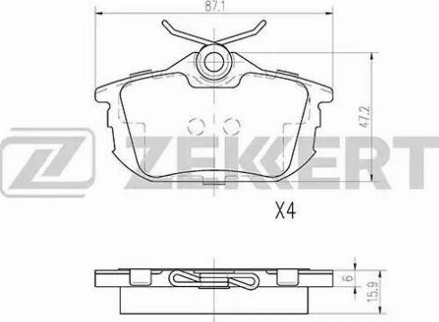 Zekkert BS-2226 - Комплект тормозных колодок, дисковый тормоз autodnr.net