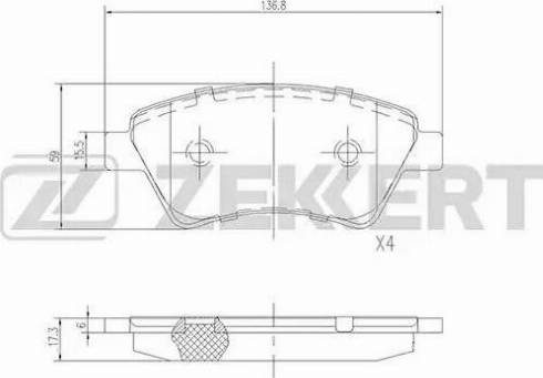 Zekkert BS-2826 - Комплект тормозных колодок, дисковый тормоз autodnr.net