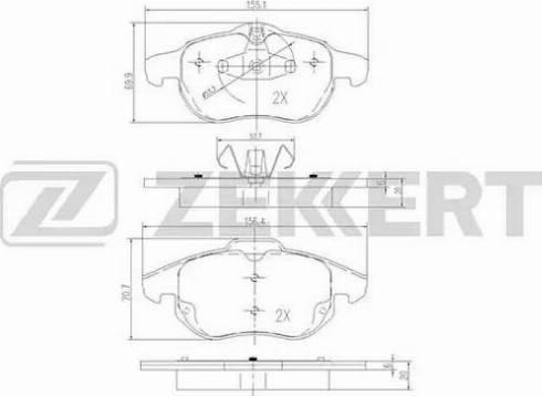 Zekkert BS-2829 - Комплект тормозных колодок, дисковый тормоз autodnr.net