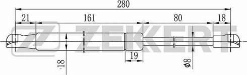 Zekkert gf1609 - Газовая пружина, крышка багажник autodnr.net