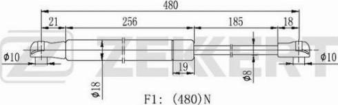 Zekkert gf2023 - Газовая пружина, крышка багажник autodnr.net