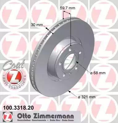 Zimmermann 100.3318.20 - Тормозной диск autodnr.net