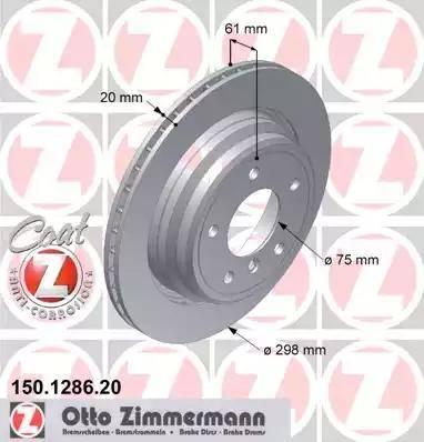 Zimmermann 150.1286.20 - Тормозной диск autodnr.net