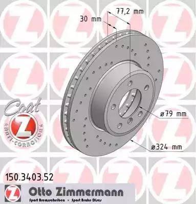 Zimmermann 150.3403.52 - Тормозной диск autodnr.net