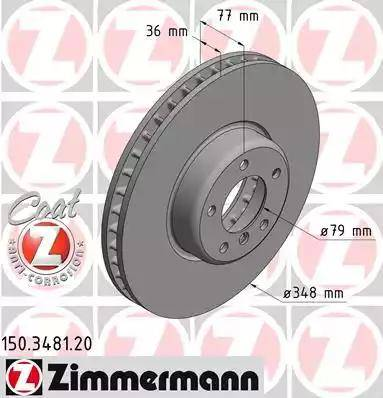 Zimmermann 150.3481.20 - Тормозной диск autodnr.net