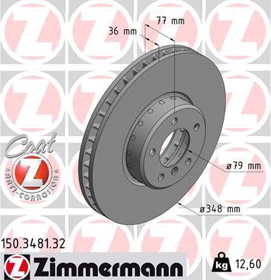 Zimmermann 150.3481.32 - Тормозной диск autodnr.net