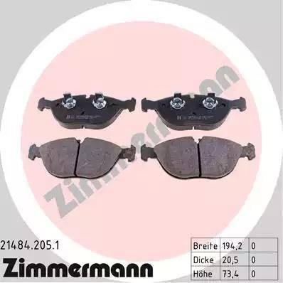 Zimmermann 21484.205.1 - Тормозные колодки, дисковые car-mod.com