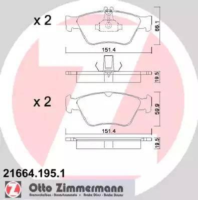 Zimmermann 21664.195.1 - Комплект тормозных колодок, дисковый тормоз autodnr.net