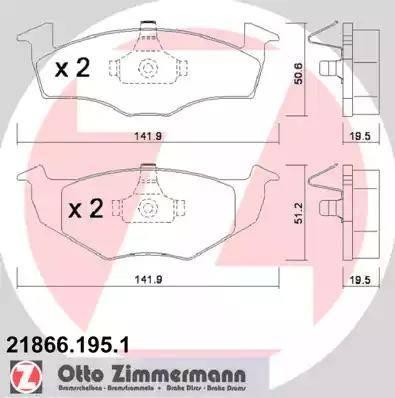 Zimmermann 21866.195.1 - Комплект тормозных колодок, дисковый тормоз autodnr.net