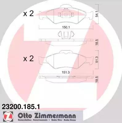 Zimmermann 23200.185.1 - Комплект тормозных колодок, дисковый тормоз autodnr.net