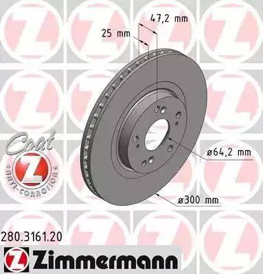 Zimmermann 280.3161.20 - Тормозной диск autodnr.net
