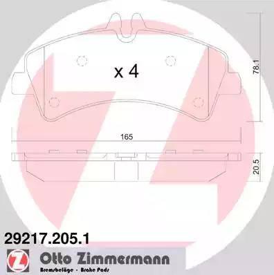 Zimmermann 29217.205.1 - Комплект тормозных колодок, дисковый тормоз autodnr.net