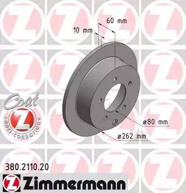 Zimmermann 380.2110.20 - Тормозной диск autodnr.net